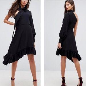 ASOS One Sleeve Scarf Neck Tie Midi Dress